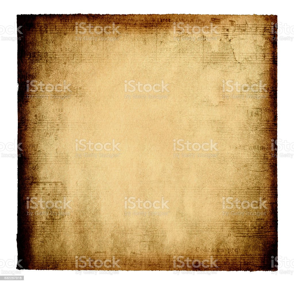 Grunge Musical Note Page paper background textured stock photo