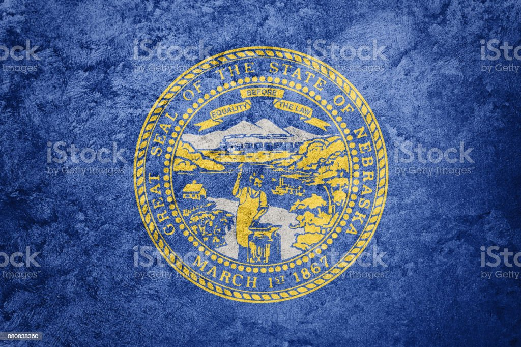 Grunge Nebraska state flag. Nebraska flag background grunge texture. stock photo