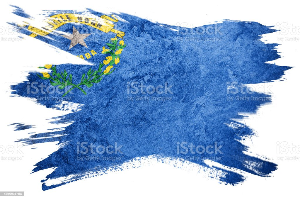 Bandeira de estado de Nevada grunge. Bandeira de Nevada escova derrame. - foto de acervo
