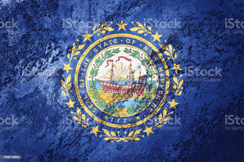 Bandeira de estado de New Hampshire grunge. Bandeira de Nova Hampshire fundo textura grunge. - foto de acervo