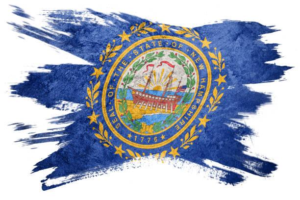 Bandeira de estado de New Hampshire grunge. Bandeira de Nova Hampshire escova derrame. - foto de acervo