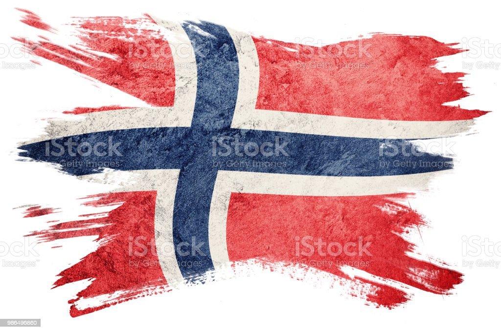 Grunge Norway flag. Norway flag with grunge texture. Brush stroke. stock photo