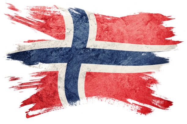 Grunge Norway flag. Norway flag with grunge texture. Brush stroke. - fotografia de stock