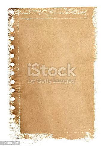 istock Grunge notepad page paper textured background 181886256