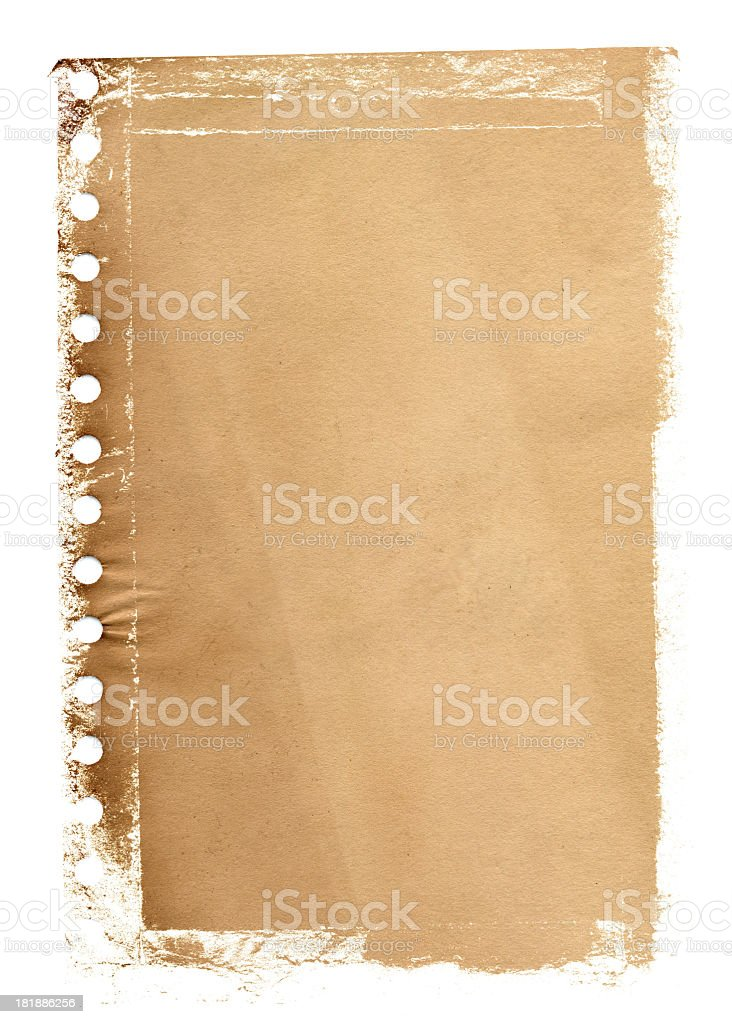 Grunge notepad page paper textured background stock photo