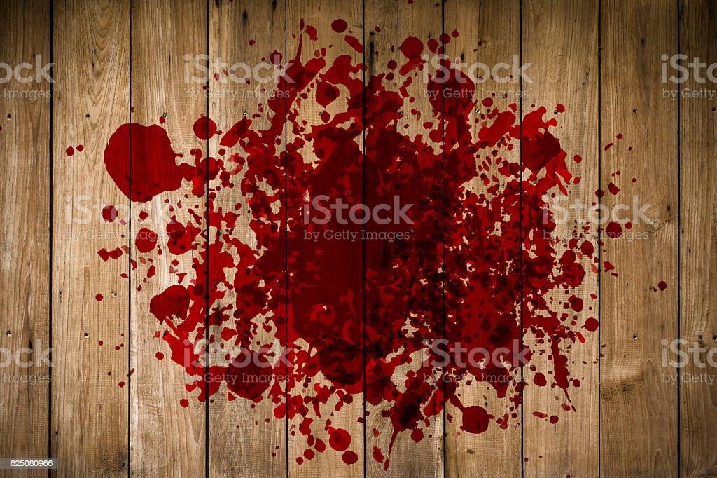 grunge of blood on wood floor, halloween bloody murder stock photo