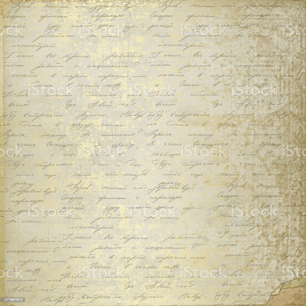 Grunge Old Paper Design In Scrapbooking Style With Handwriting Royalty Free Stock Photo