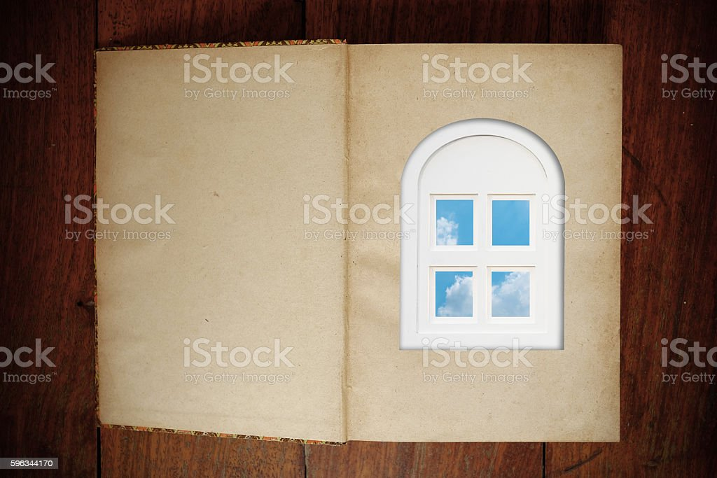 Grunge paper book and window royalty-free stock photo