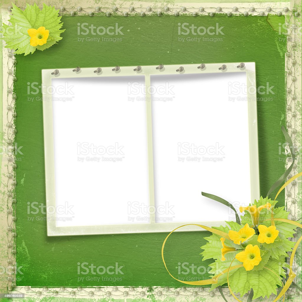 Grunge Paper Frames With Flowers Pumpkins And Ribbons stock photo ...