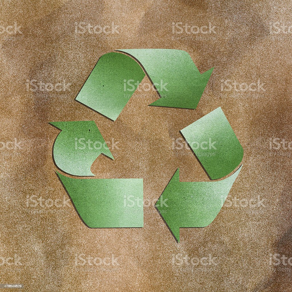 Grunge Paper Texture Green Recycle Sign On Brown Background