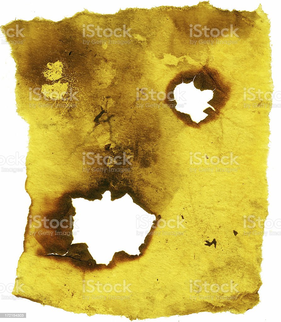 Grunge Paper with two holes. stock photo