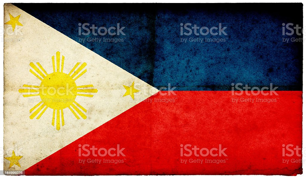 Grunge Philippines Flag on rough edged old postcard stock photo