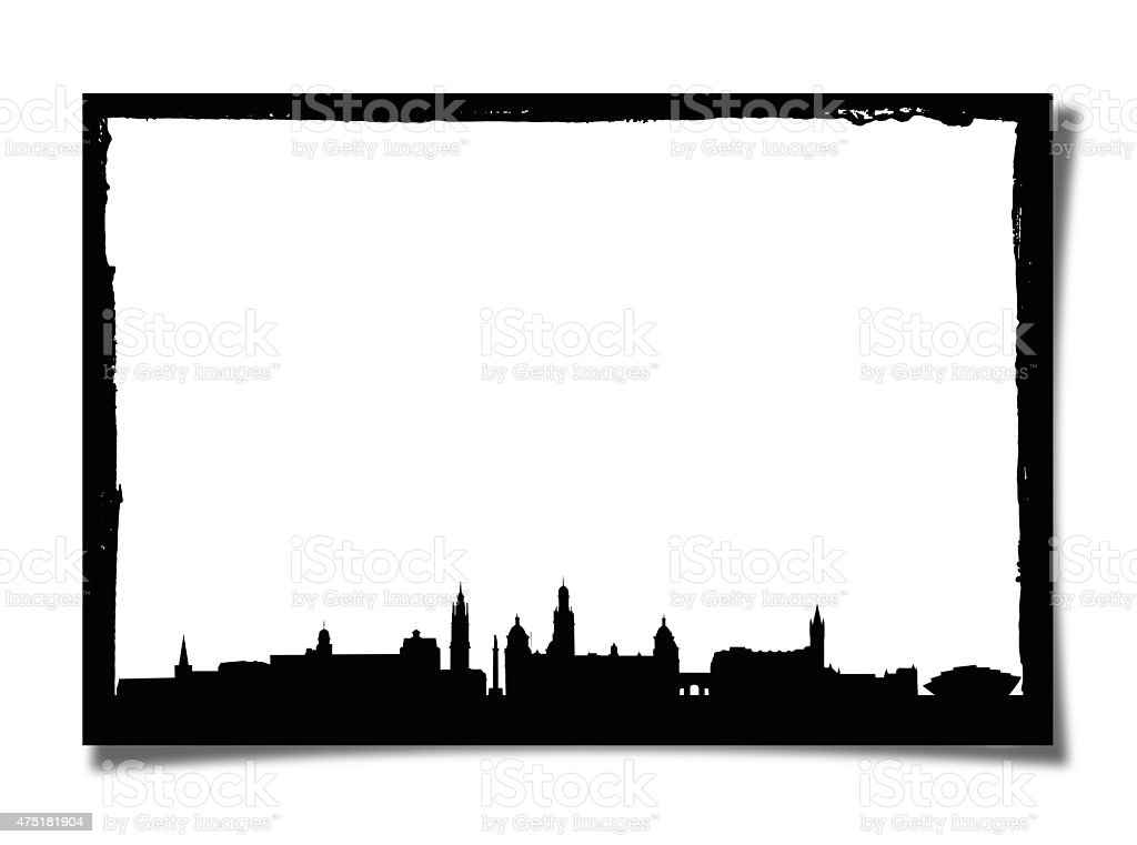Grunge Photo Frame With Silhouette of Glasgow stock photo