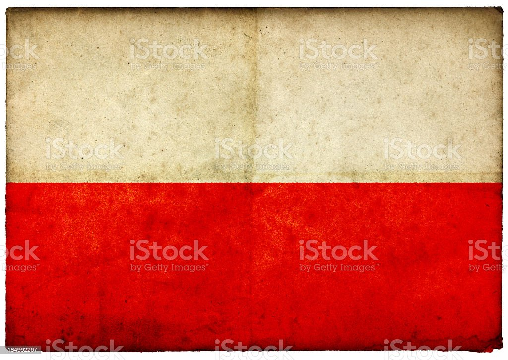 Grunge Polish Flag on rough edged old postcard stock photo