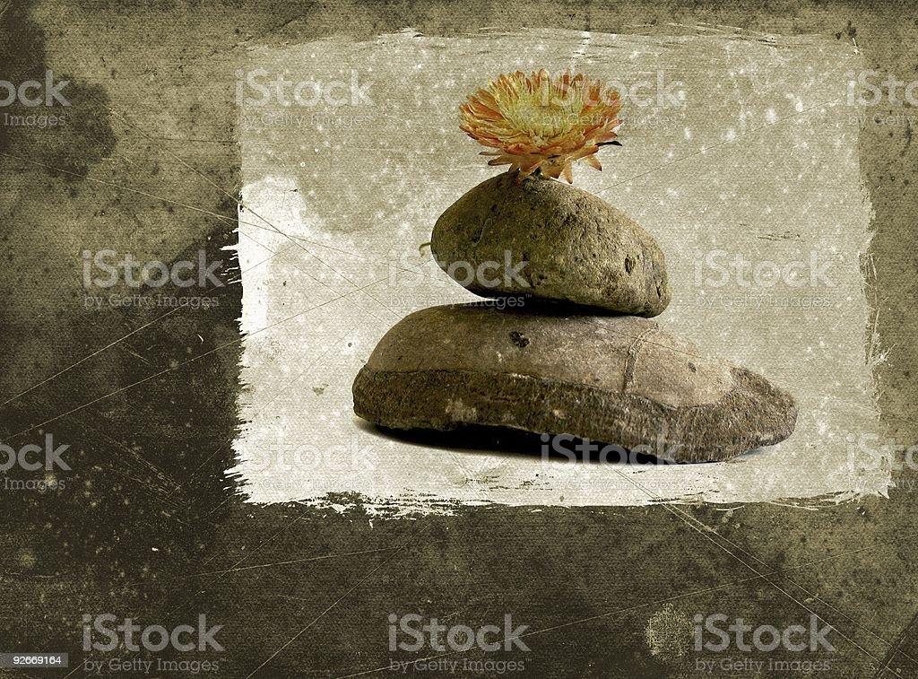 Grunge postcard with zen still life royalty-free stock photo