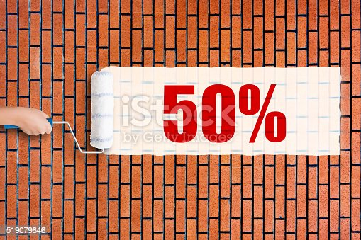 istock Grunge red brick wall background with 50% 519079846
