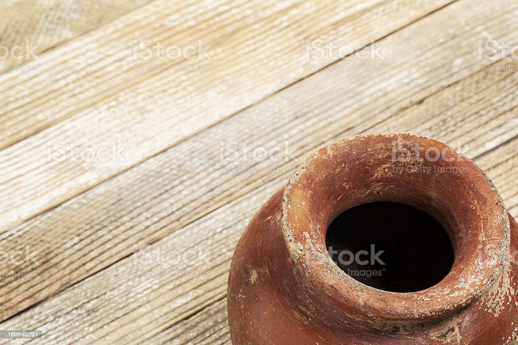 grunge red clay pot stock photo