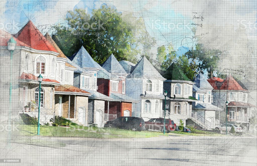 Grunge Residential Area stock photo