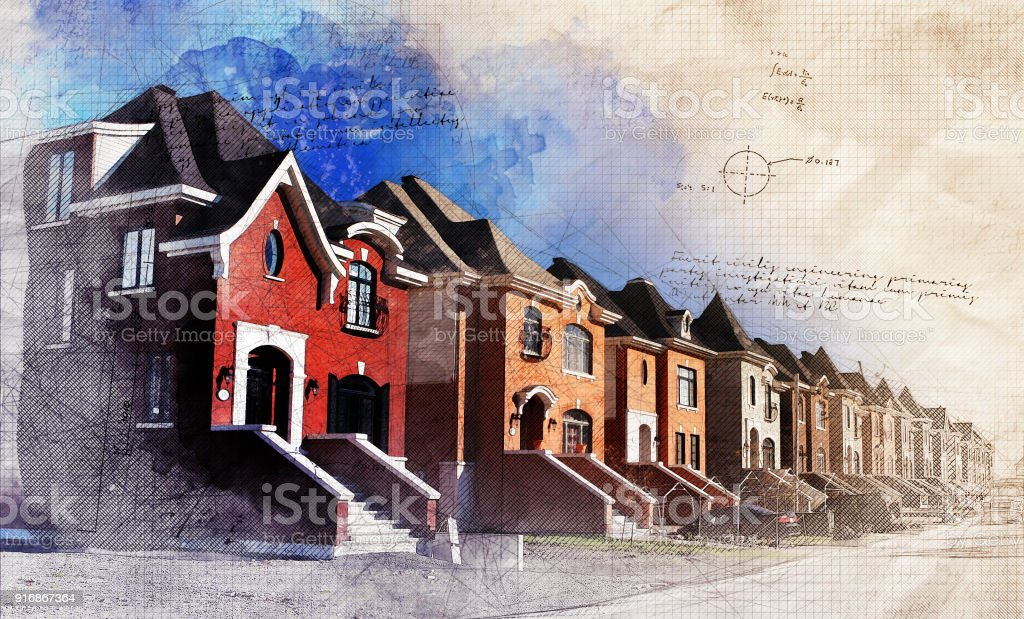 Grunge Residential District stock photo