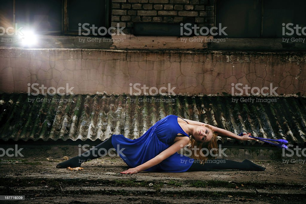 Grunge Rhythmic Gymnastics - Dancing With Clubs royalty-free stock photo