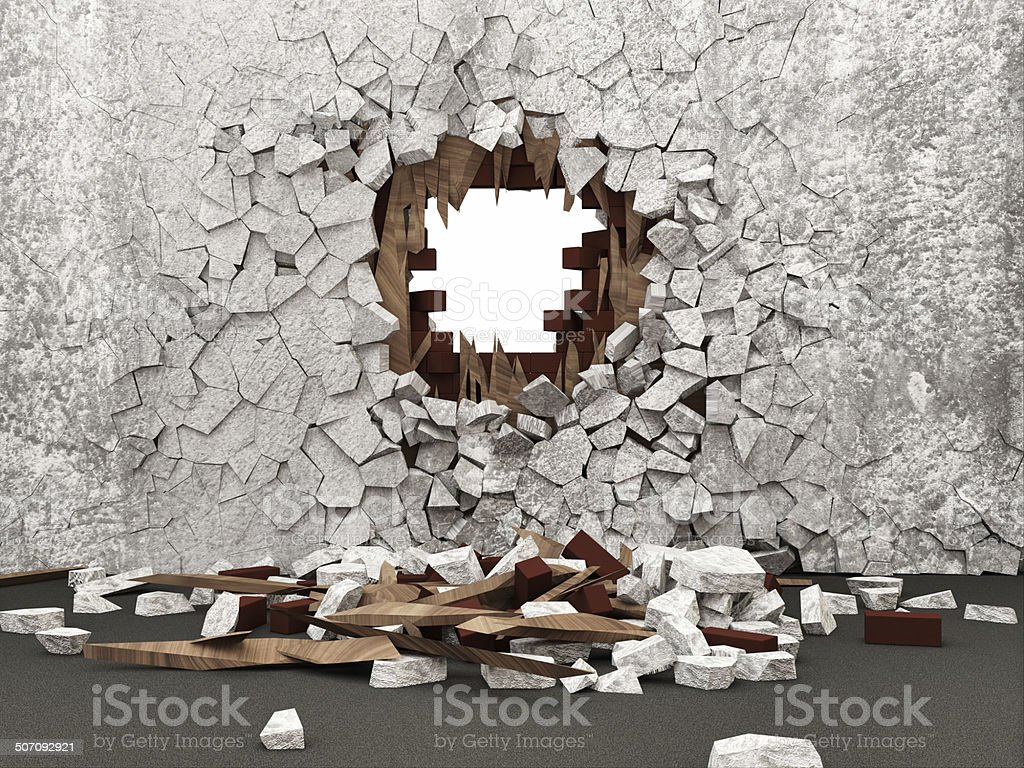 Grunge Room Interior with Broken Wall stock photo
