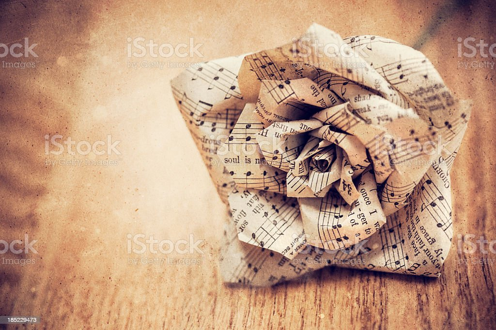 Grunge Rose Made with Sheet Music stock photo
