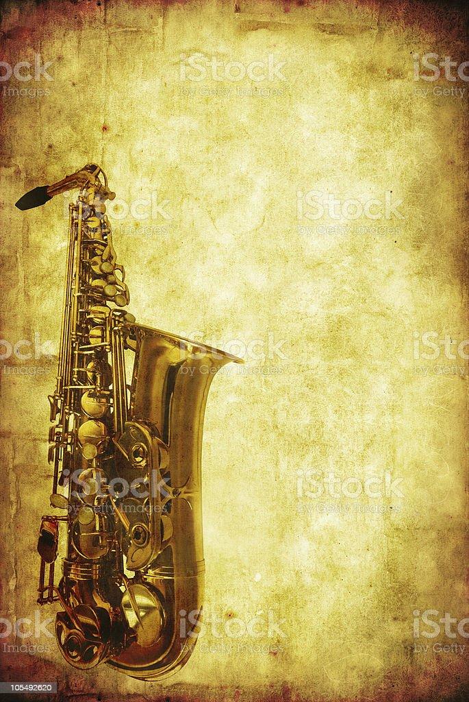 Grunge Saxophone stock photo