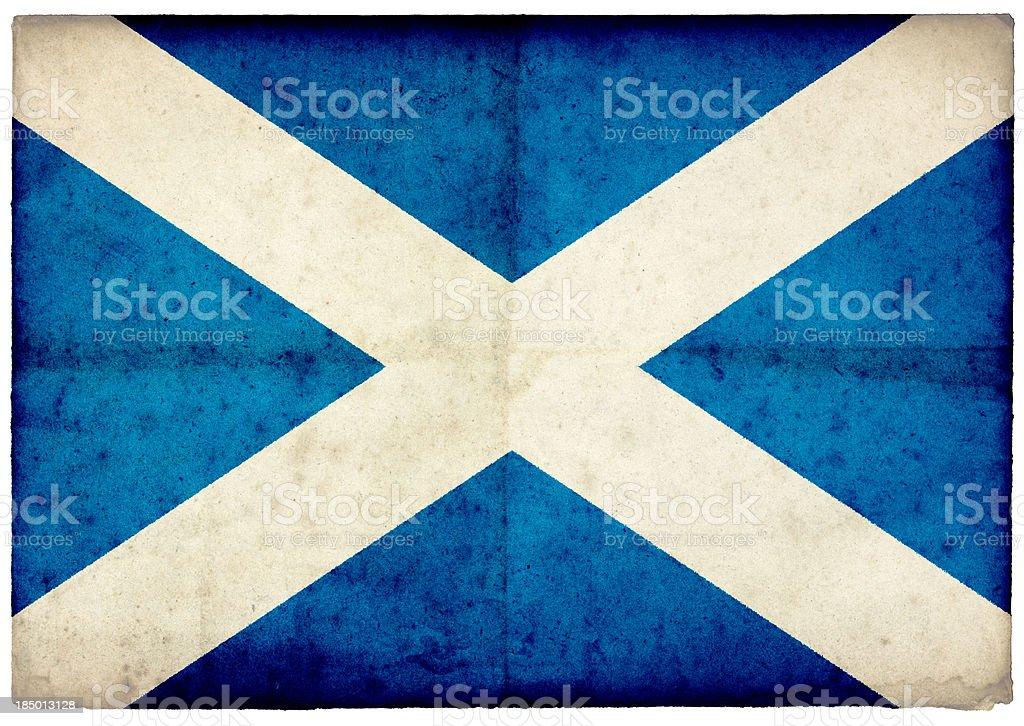 Grunge Scottish Flag on rough edged old postcard stock photo