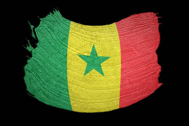 Bandeira do Senegal grunge. Bandeira do Senegal com textura grunge.  Pincelada. - foto de acervo