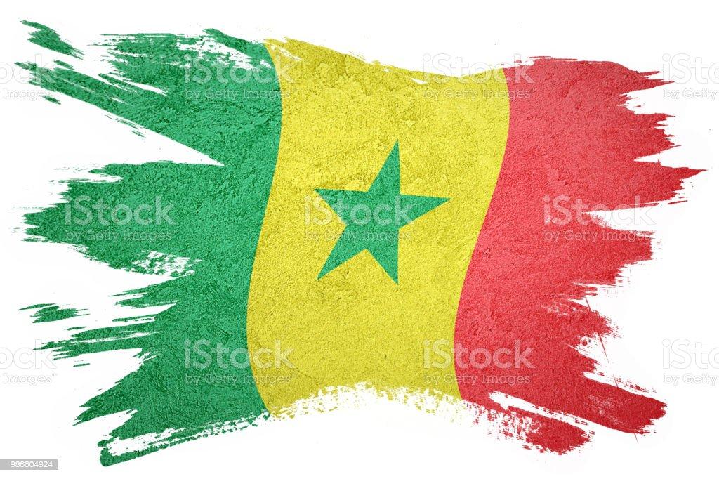 Bandeira do Senegal grunge. Bandeira do Senegal com textura grunge. - foto de acervo