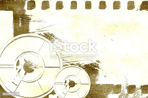 istock Grunge sepia film strip frame with coils. 660322278