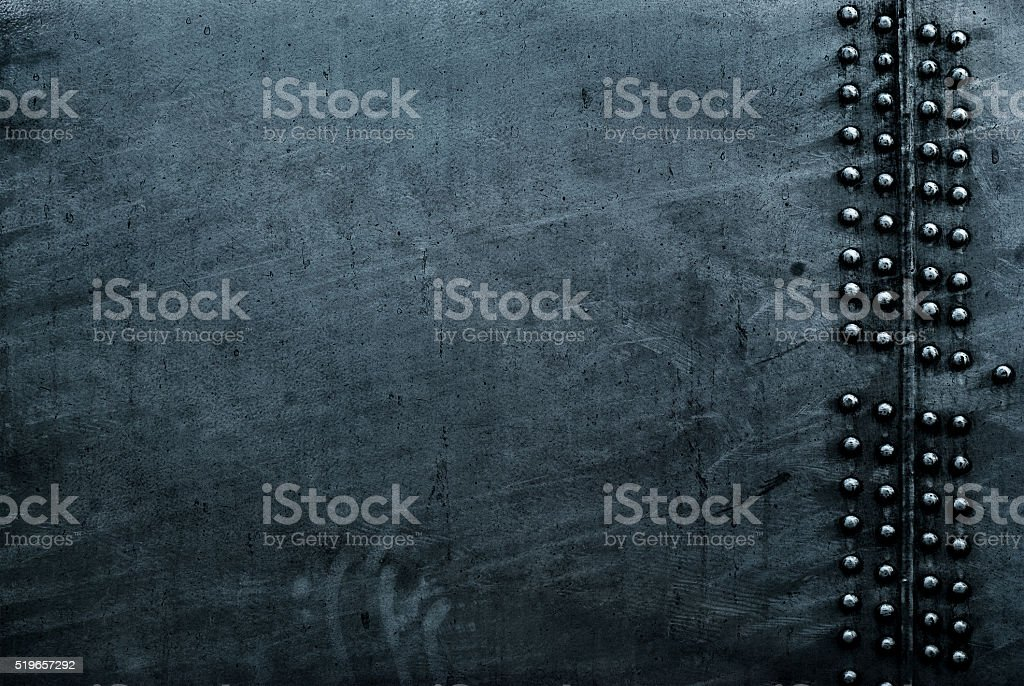Grunge sheet metal with rivets stock photo