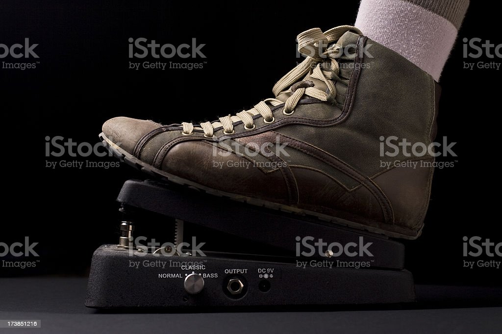 grunge shoe on a whammy pedal stock photo