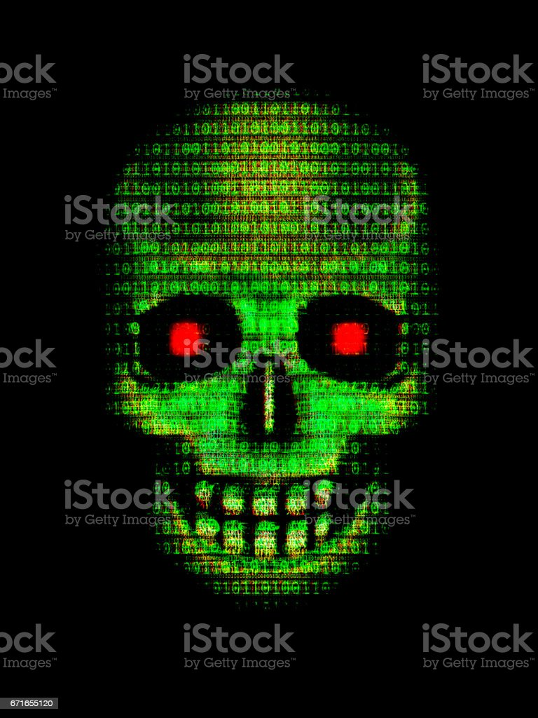 HACKED Grunge skull made of data stock photo