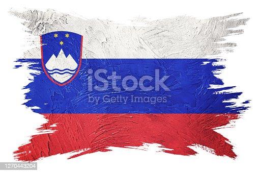 Grunge Slovenia flag. Slovenia flag with grunge texture. Brush stroke.