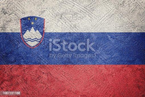 Grunge Slovenia flag. Slovenia flag with grunge texture.