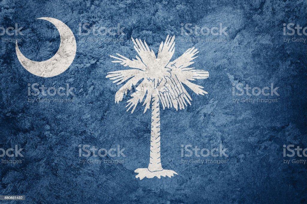 Grunge South Carolina state flag. South Carolina flag background grunge texture. stock photo