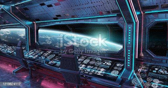 Grunge Spaceship blue and pink interior with view on planet Earth 3D rendering