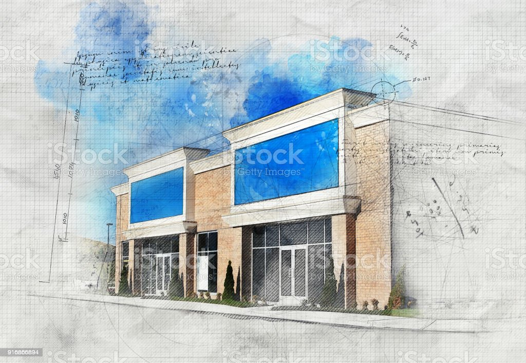 Grunge Store Building stock photo