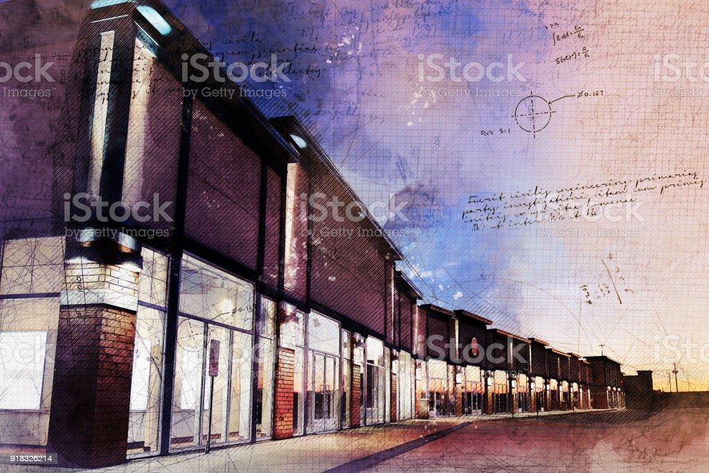 Grunge Strip Mall at Night stock photo