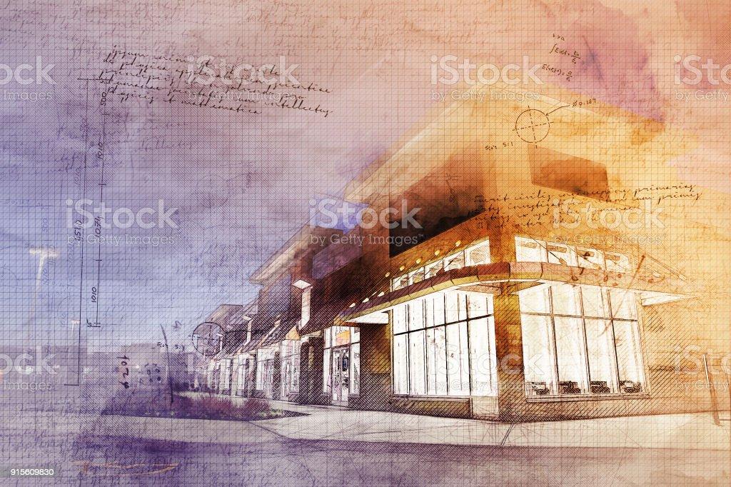 Grunge Strip Mall Building stock photo