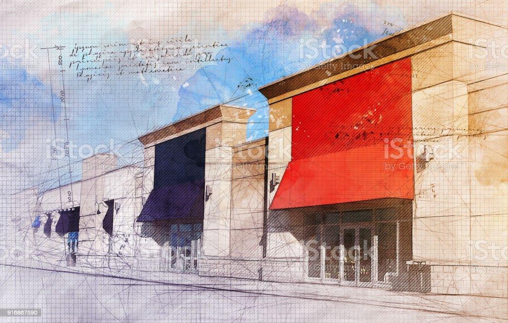 Grunge Strip Mall stock photo