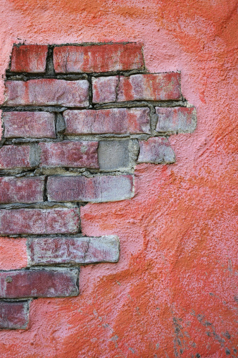 Grunge Stucco Over Brick Wall Stock Photo - Download Image Now - iStock