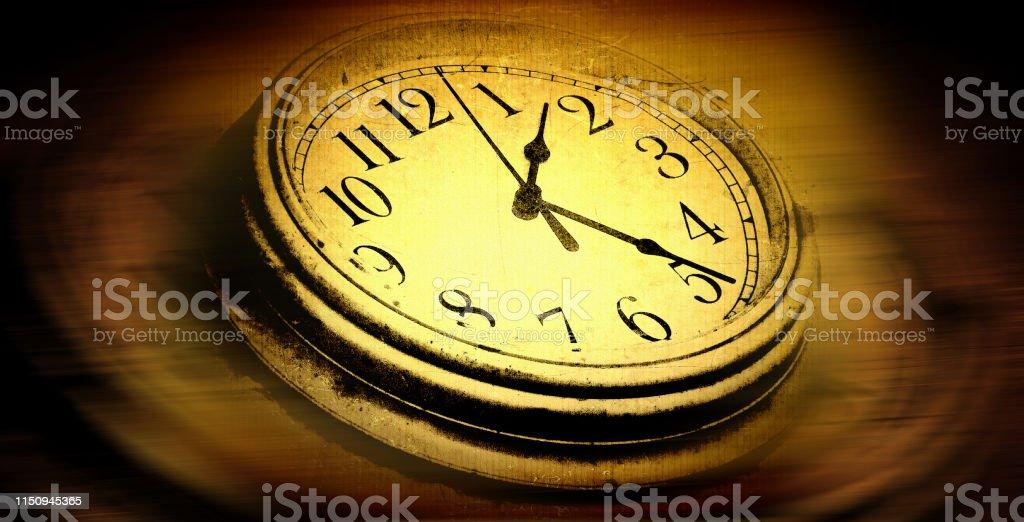 digitally manipulated grunge style close up clock face