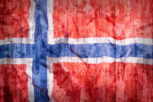 Grunge style of Norway flag on a brick wall - fotografia de stock