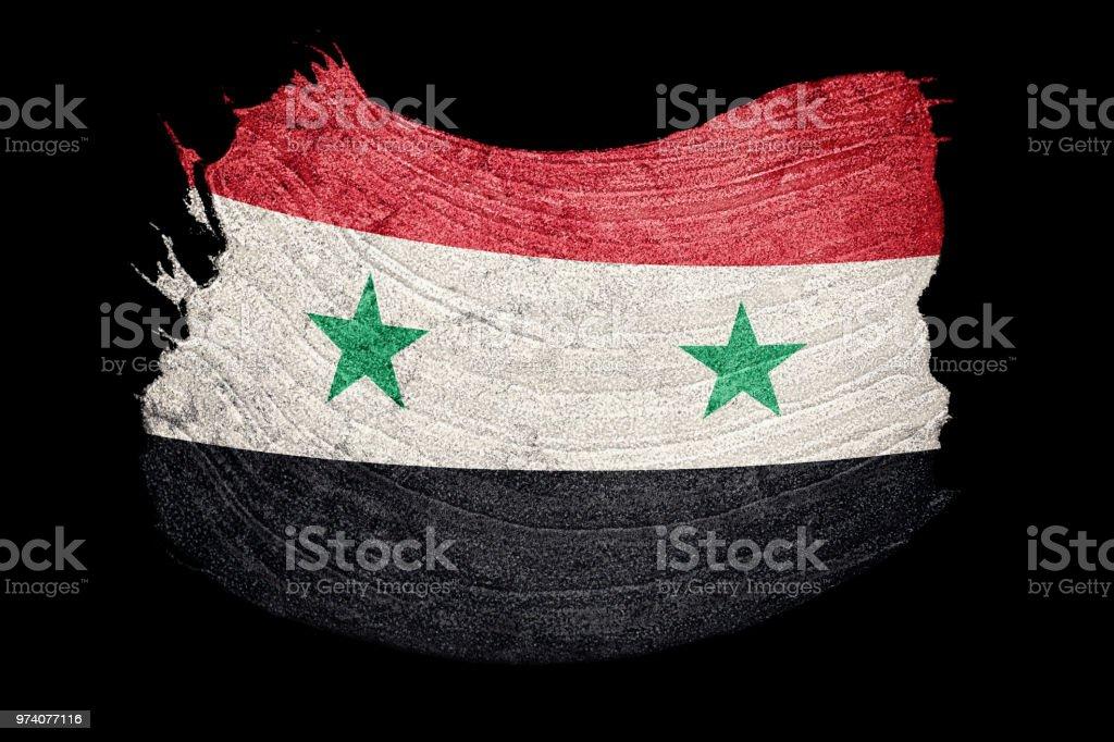 Bandera de Siria del Grunge. Bandera Siria con textura grunge. Trazo de pincel. - foto de stock