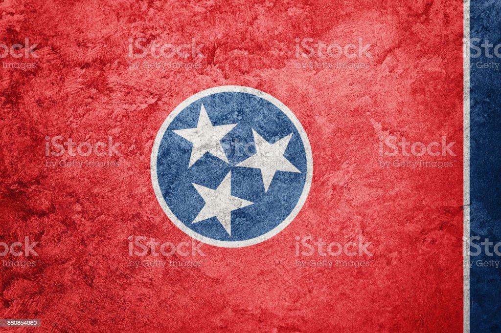 Bandeira de estado de Tennessee grunge. Bandeira de Tennessee fundo textura grunge. - foto de acervo