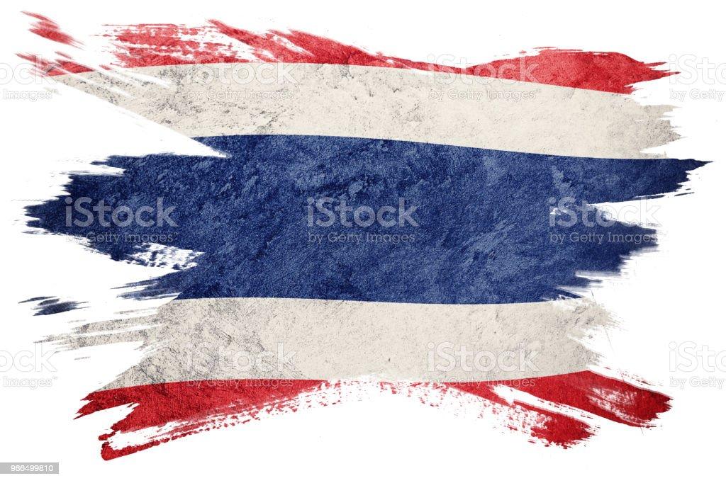 Grunge-Thailand-Flagge. Thailand Fahne mit Grunge-Textur. Pinselstrich. – Foto