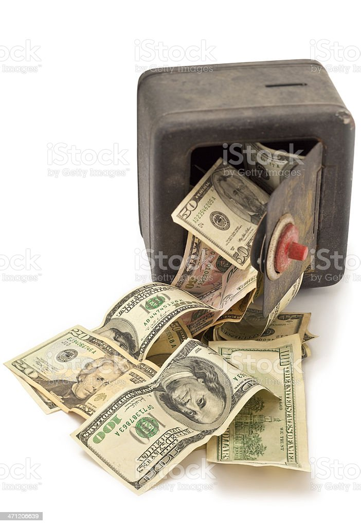 Grunge Toy Safe With Cash Spilling Out stock photo
