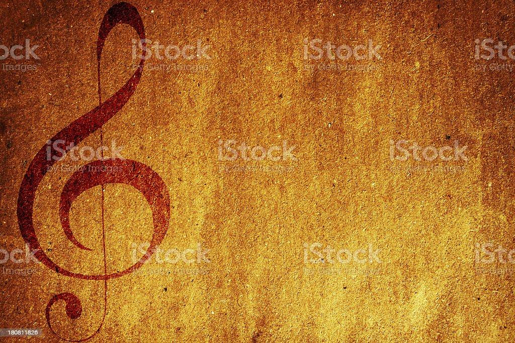 Grunge treble clef royalty-free stock photo